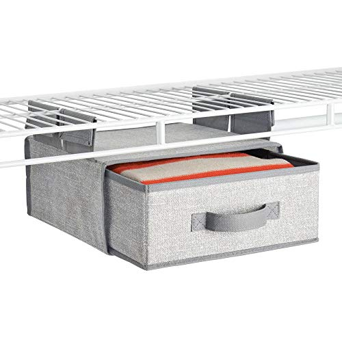 mDesign Soft Fabric Over Closet Shelving Hanging Storage Organizer with Removable Drawer for Closets in Bedrooms, Hallway, Entryway, Mudroom - Textured Print with Solid Trim - Gray