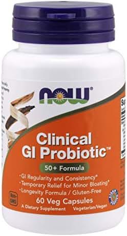 NOW Supplements, Clinical GI Probiotic™, 50+ Formula, Strain Verified, 60 Veg Capsules