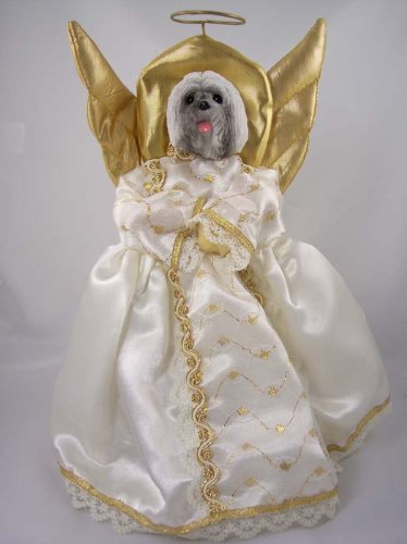 Lhasa Apso Gray Angel Tree Topper