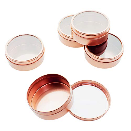 Mimi Pack 1 oz Tins 24 Pack of Shallow Window Top Round Tin Containers with Lids For Cosmetics, Party Favors and Gifts (Rose Gold)