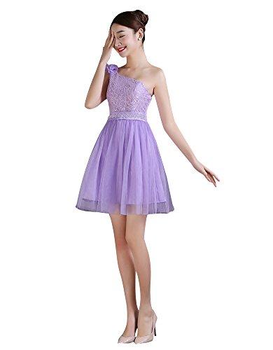 Beauty-Emily Mini 4estilos elástica acolchada de dama Homecoming vestido Purple B