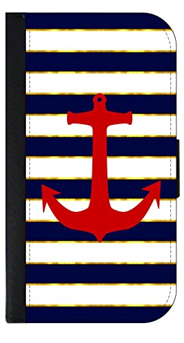 Red Anchor on Blue Gilded Stripes Wallet Phone Case for The iPhone 10 XR - iPhone 10 XR Wallet Case - iPhone XR Wallet Case