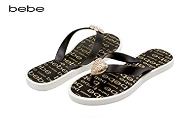 d335444f09 bebe Girls Vegan Sandals with Heart Embellishment and Printed Footbed