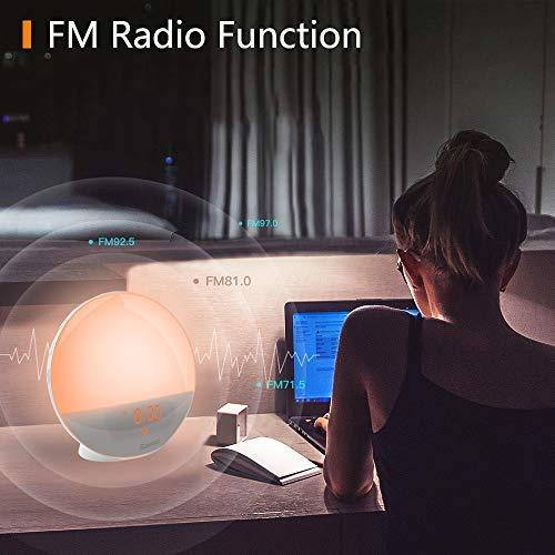 Luces Despertador Luz Wake Up Light Bawoo LED Despertador Lámpara Nocturna Lámpara Táctil Luz Noche USB con Reloj Radio FM Simulación de Amanecer Atardece ...