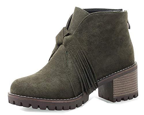 Boots Vert Bloc Femme Talon Aisun 6cm Low Franges Bottines Hiver Mode wBCvvI0q