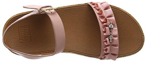 Sandali Fitflop Damen Ruffle Back-strap Peeptoe Rosa (rosa Scuro)
