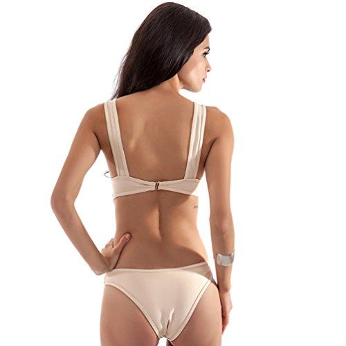 Baymate Mujer Traje de Baño Una Pieza Hollow Bañador Deporte Push Up Bikinis Beachwear Blanco