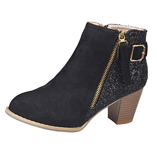 Londony ♥‿♥ Womens Suede Ankle Boots Faux Leather Wood Stacked Heel Glitter Fashion Zipper Up Booties