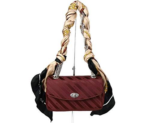Balenciaga Women's Burgundy Jacquard Logo/Foulard Chain Tote With Scarf 493234 6165