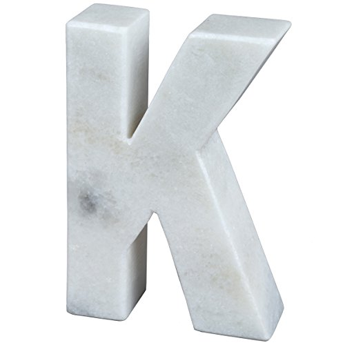 Creative Home Natural Marble Stone Letter K Bookends, Paper Weight, 4