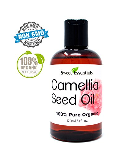 Organic Camellia Seed Oil | Imported From Japan | 4oz Bottle | 100% Pure | 100% Organic | For Hair & Skin Use | By Sweet (Japan Oil)