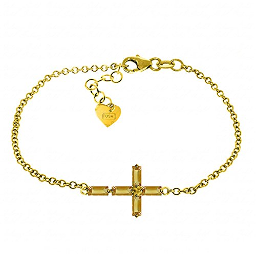 ALARRI 1.15 Carat 14K Solid Gold Cross Bracelet Natural Citrine Size 8 Inch Length by ALARRI