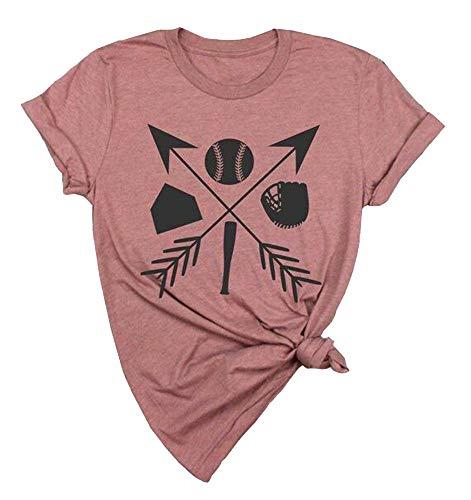 (JINTING Baseball Graphic Printed Tees Shirts for Women Baseball Graphic Tees Shirts Funny Cute Baseball Graphic Tee Shirts Top Size S (Pink))