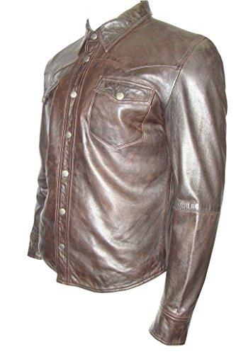 Uomo Camicia Di Stile Jeans In Camionista Pelle Marrone Casual Giacca q4nFCTgHwT