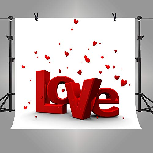 ST 6X6FT LOVE Photography Backdrop Hearts with Love for Personal Party Backdrop or YOUTUBE Background Props ST660004 (Love You Tube)