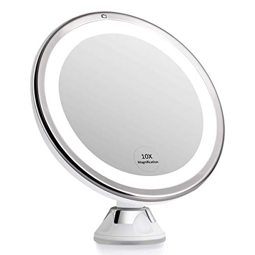 KEDSUM Large 10X Magnifying MakeupMirror with Lights, Dimmable Lighted Magnifying Mirror for Bathroom, Cordless Mirror with Magnification, Strong Suction Cup, USB or Battery Operated