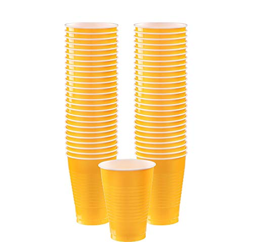 Big Party Pack Sunshine Yellow Plastic Cups | 12 oz. | Pack of 50 | Party Supply