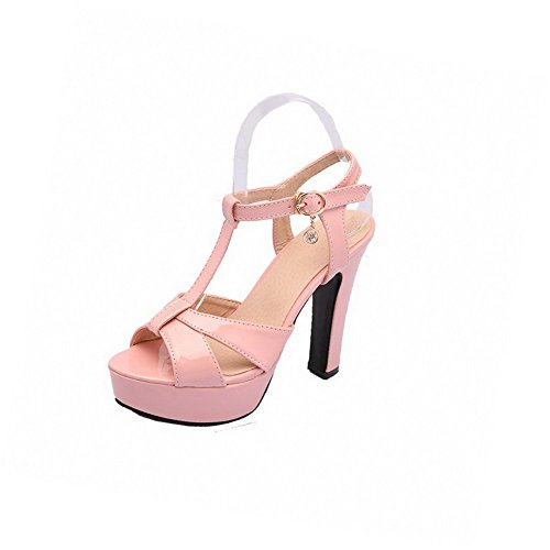 Open Sandals Solid AllhqFashion High Pink Heels Womens Buckle Toe Pu AxZXwZq7