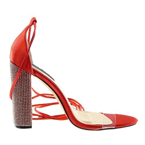 Angkorly Damen Schuhe Sandalen Pumpe - Hohe - Offen - Schick - Strass - Transparent Blockabsatz High Heel 11 cm Rot