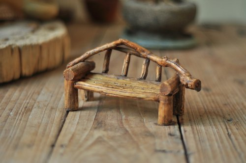 Top Collection Enchanted Story Fairy Garden Faux Wood Bench