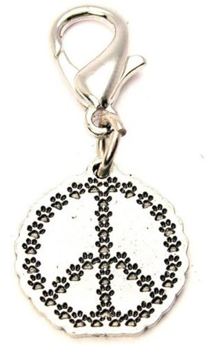 ChubbyChicoCharms Paw Prints Peace Sign Pewter Charm on a Zipper Pull ()