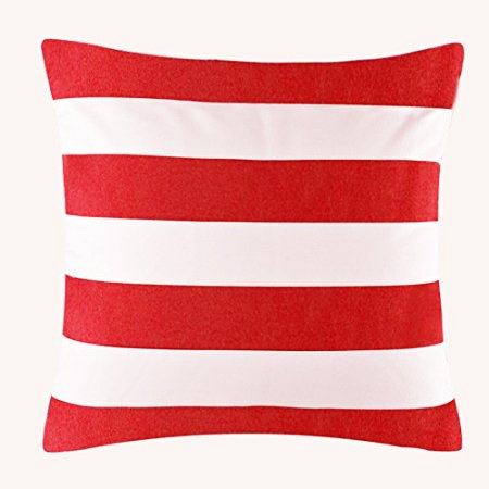 Red Decorative Toss Pillow (TAOSON Home Decorative Cotton Canvas Square Throw Pillow Cover Cushion Case Stripe Toss Pillowcase with Hidden Zipper Closure Multiple Colors (18