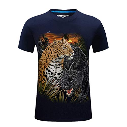 (T-Shirts for Men, MmNote Loose Sunset Cheetah Nature Print Round Neck Cool Quick Premium Modern Classic Fit Dark Blue)