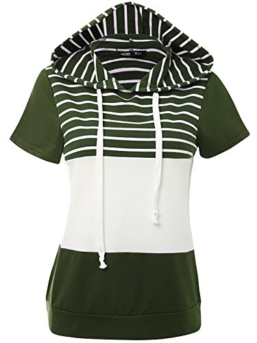 JayJay Women Casual Athleisure Short Sleeve Striped Contrast Color Pullover Hoodie Sweater Shirt,Khaki,L