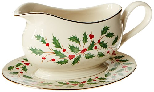 Lenox Holiday Gravy Boat with Stand,Ivory