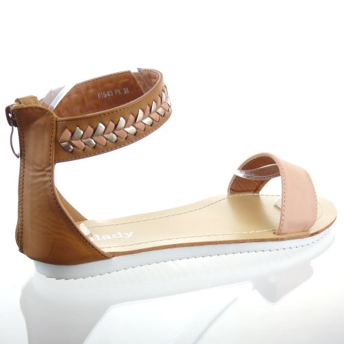 Kickly - Chaussure Mode Sandale Tong Claquettes cheville femmes flashy - Intérieur cuir - Rose/Or