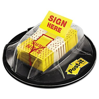 """Post-it Flags Flags in Dispenser, """"Sign Here"""", Yellow, 200 Flags-Dispenser"""