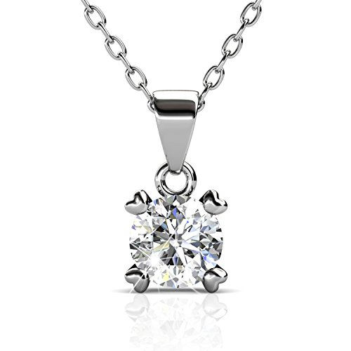 BlingGem Platinum-plated Swarovski Zirconia necklace with Solitaire Round Cut Pendant, Gifts for women18