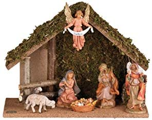 Fontanini – 7 Figure Nativity with Italian Stable, for 5 Scale Nativity Figure Collection, Wood Bark Moss Polymer, Handmade in Italy, Designed and Manufactured in Tuscany, Hand Painted