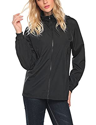 EASTHER Women's Lightweight Zip Rain Jacket With Pockets Outdoor Hooded Waterproof Raincoat