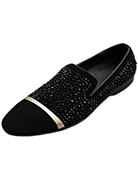 Black Men Leather Slip On Loafers Shoes Rhinestone Slippers Shoes