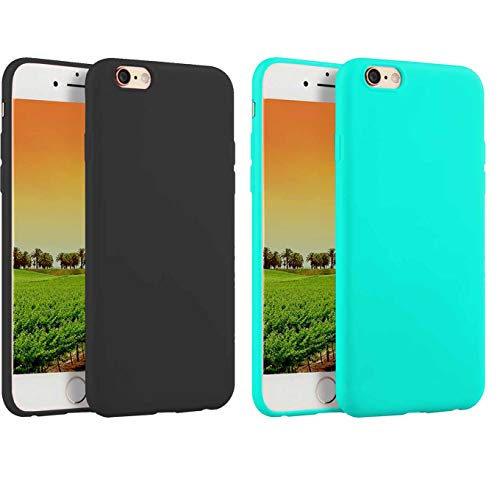 Mod Handset Plugs - 2 Pack Compatible with iPhone 6 Plus / 6s Plus 5.5-Inch Case,Soft TPU Slim Thin Durable Anti-Scratch Shock-Absorption Resistant Shield Cell Mobile Phone Cover Case for Girls Women Man Boys,Black+Teal