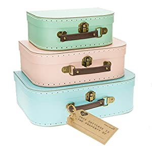 Set Of 3 Pastel Coloured Blue Green Pink Retro Suitcases Storage Boxes