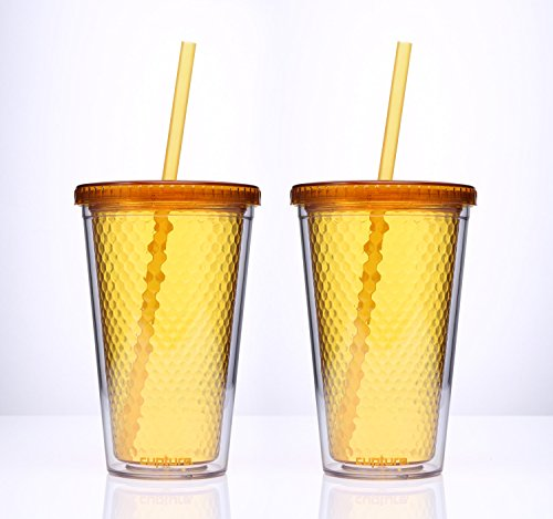 Cupture® Beehive Orange/Honey color Insulated Double Wall Tumbler Cups - 16 oz, 2 Pack