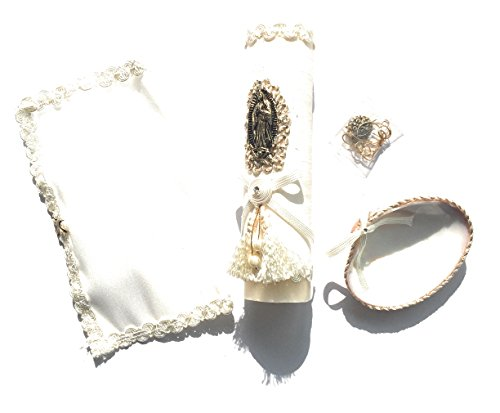 Handmade Catholic Baptism Kit including Medal, Towel, Candle and Shell Kit De Bautizo Religious Gift (Our Lady of Guadalupe) ()