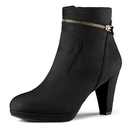 Allegra K Women's Round Toe Ankle Black Mid Heel Boots - 7.5 M US