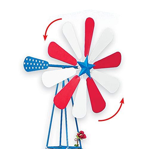 Collections Etc Americana Garden Windmill Trellis - Patriotic Seasonal Decorative Outdoor Accent
