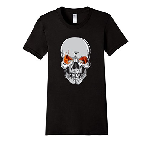 [Women's Skull Scary Halloween Costume or Biker T-Shirt Medium Black] (Biker Halloween Costumes For Adults)