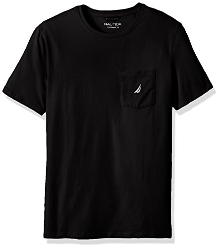 Nautica Men's Big and Tall Solid Pocket T-Shirt, True Black, 2X