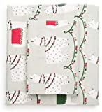 Modern Southern Home Festive Llama with Christmas Lights Twin Flannel Sheet Set