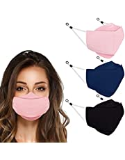 3Pc Pure Color Cotton Face_Mask For Adults,3 Layer Machine Washable and Reusable Cloth Face_Mask for Glasses Wearer Anti-fog