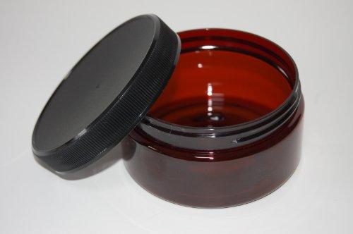 8 oz PET Amber Single-Wall Jar (Black Ribbed Lid with F217 Liner)