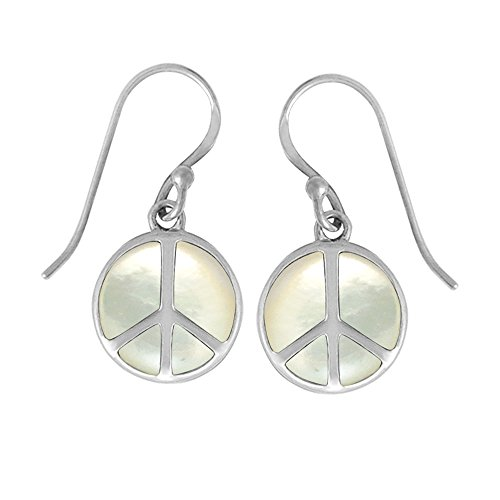 (Boma Jewelry Sterling Silver Mother of Pearl Peace Sign Earrings)