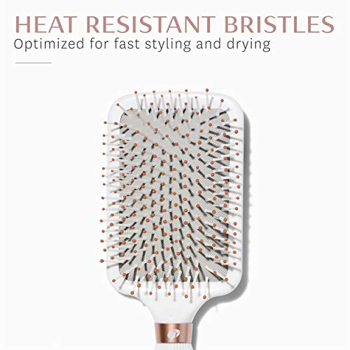 T3 - Smooth Paddle Hair Brush | Professional Cushioned Paddle Brush for Sleek Smooth Blowouts | Heat Resistant Bristles by T3 Micro (Image #1)