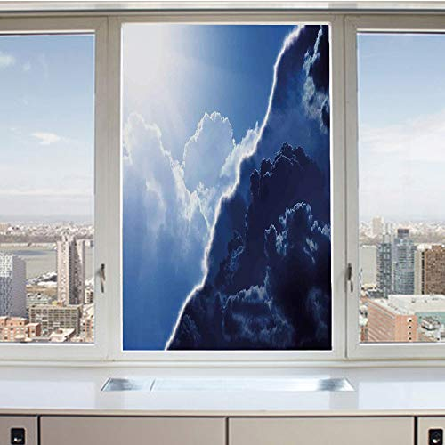 3D Decorative Privacy Window Films,Composite of Dark and Lightness Theme in Diverse Tones of Skyline Weather,No-Glue Self Static Cling Glass Film for Home Bedroom Bathroom Kitchen Office 24x36 - Weather Composite Blades