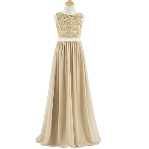Lanbaodress A-Line Scoop Neck Floor Length Chiffon Junior Bridesmaid Dress with Lace J12 Champagne